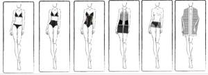 I costumi della linea Sculpt di Yamamay, come sono nati dagli sketch a matita.