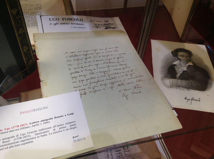 Autografo di Ugo Foscolo (10mila euro) da Philo Biblon