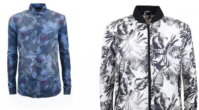 Le stampe tropical sui capi Clayton: il brand moda scommette molto sul gusto green a effetto.