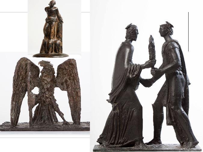Opere dello scultore Arturo Martini allo stand dello Studio Guastalla.