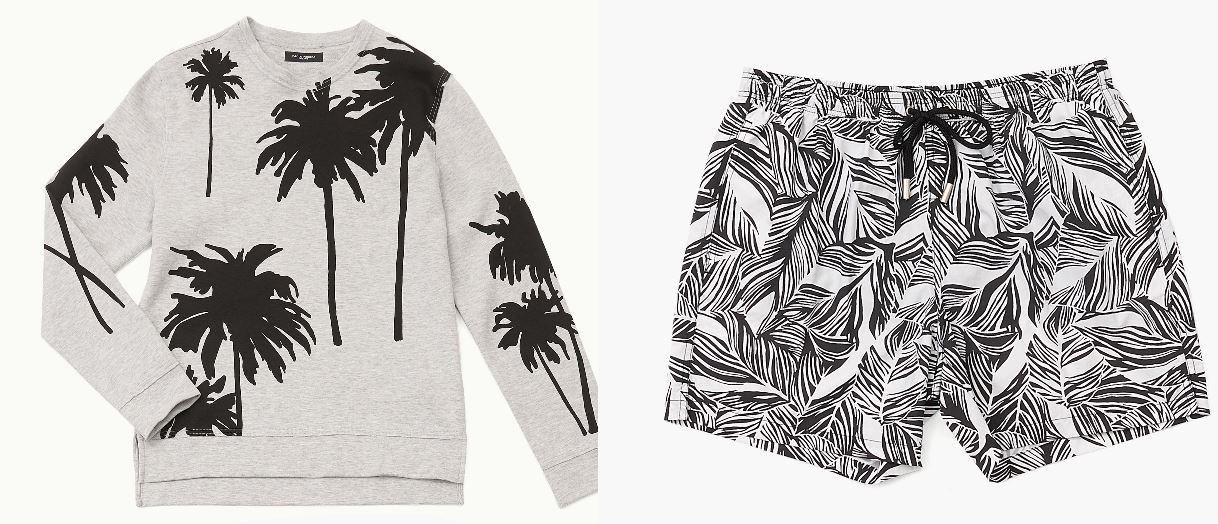 Paolo Pecora Milano lancia il tropical su felpe e costumi da bagno in versione bianco/nero.