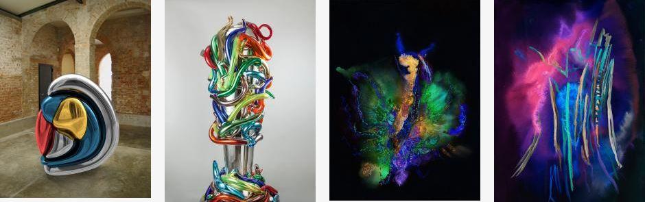 Alcune opere di Marialuisa Tadei: da sinistra Vita, Incontro, Farfalla e Lampo.