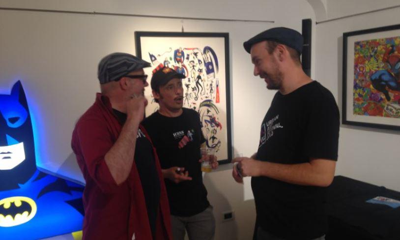 Da sinistra, Massimo Giacon, Christian Gangitano e Pao alla Deodato Arte (foto: Christian D'Antonio per The Way Magazine)