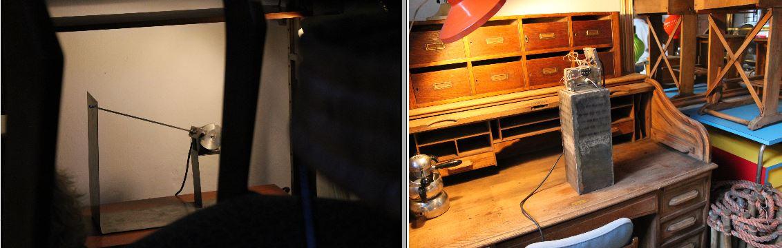 Massimo De Caria ha posizionato le sue opere meccaniche in mezzo agli arredi vintage di Carrozzeria 900.