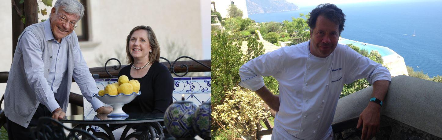 Le personalità attorno a cui ruota l'eccellente ospitalità del Monastero Santa Rosa. Da sinistra, il general manager Flavio Colantuoni, l'imprenditrice Bianca Sharma e lo chef Christoph Bob.