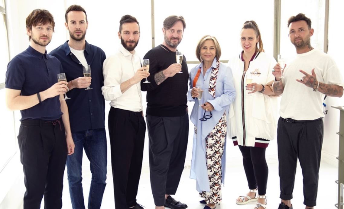 omaso Anfossi & Francesco Ferrari (CO|TE), Tiziano Guardini (Tiziano Guardini), Daniele Calcaterra (Calcaterra), Desiree Bollier (Chair, Value Retail), Mateja Benedetti (Matea BENEDETTI), Leo Macina (Leo Studio Design).