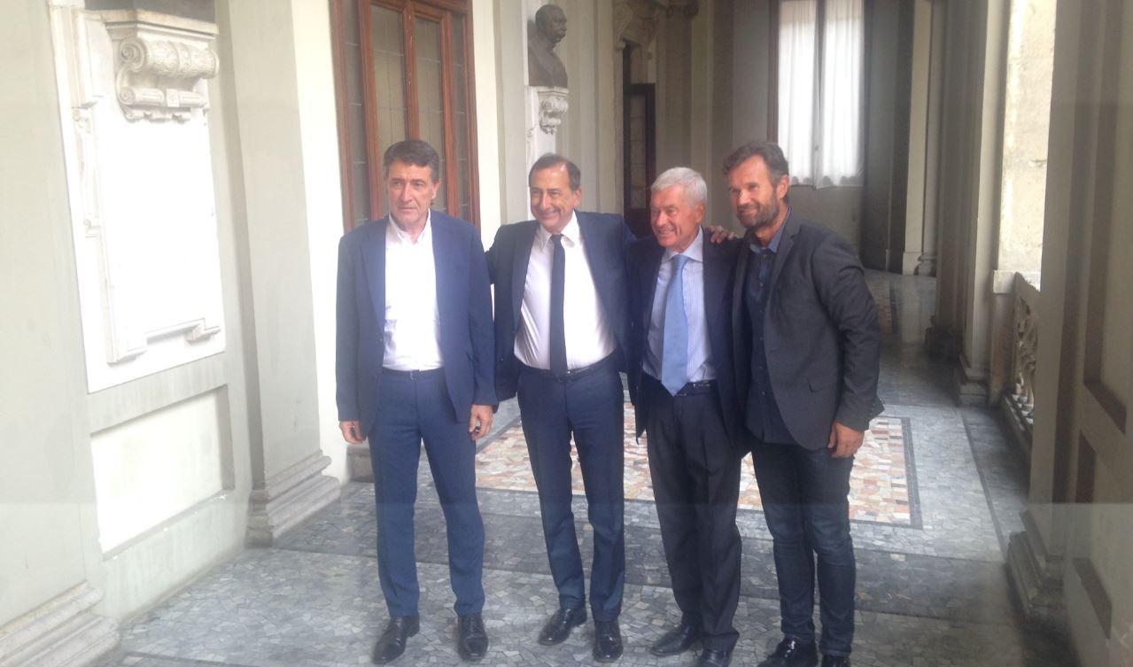 Protagonisti: da sinistra, Beppe Sala, sindaco di Milano, Sangalli, Carlo Cracco, chef.