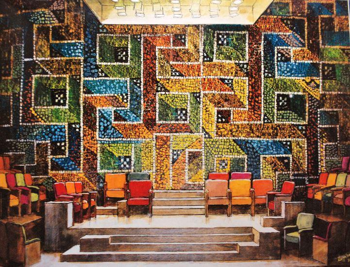 Franco Zeffirelli, Absolutely! (Perhaps), 2002_Archivio Fondazione Franco Zeffirelli. Disegno a tempera e acquerello (cm43 x 56). Londra, WyndhamÔÇÖs Theatre 2003