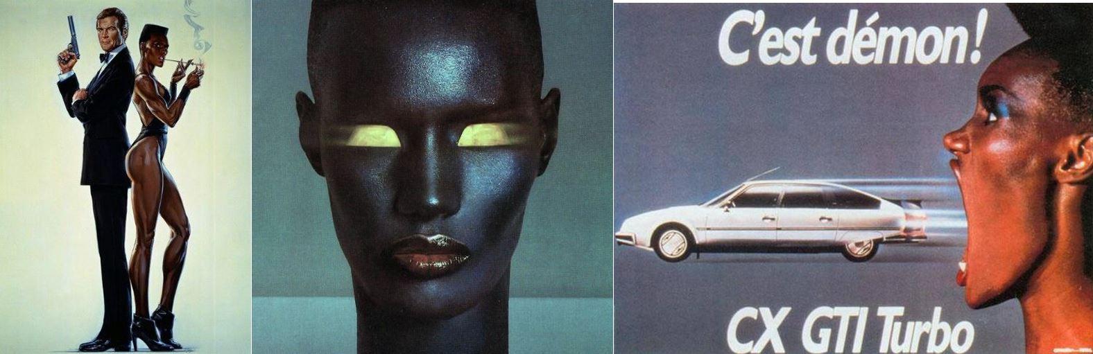 Alcuni momenti dirompenti della costruzione dell'immagine di Grace Jones, musa estetica degli anni 80.