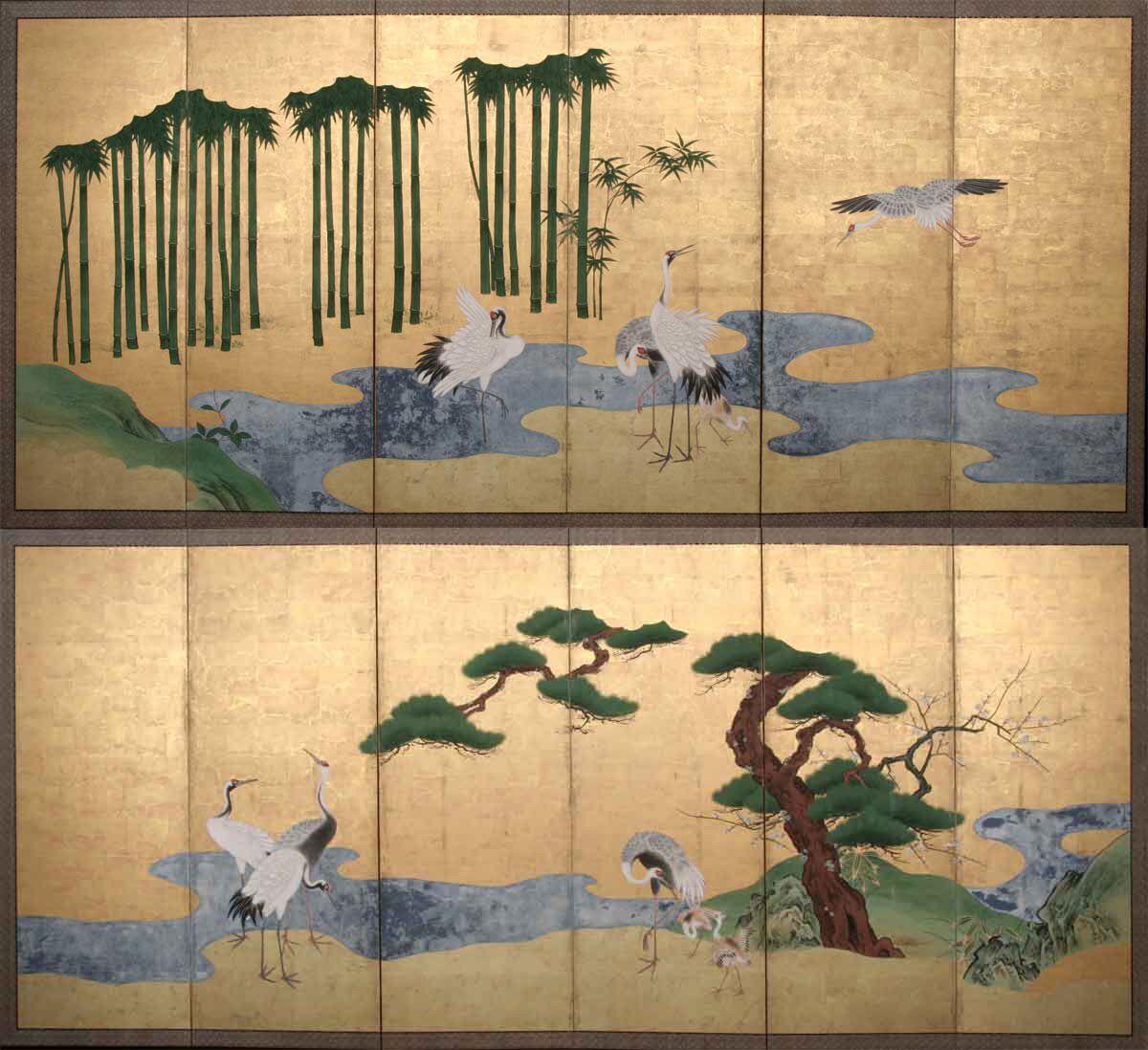 Paio di paraventi a sei ante, ciascuno decorato con inchiostro e foglie in oro, raffiguranti delle gru del paradiso vicine a un fiu me con pini, pruni e bamboo. In ottimo stato di conservazione. Giappone, XVIII secolo.