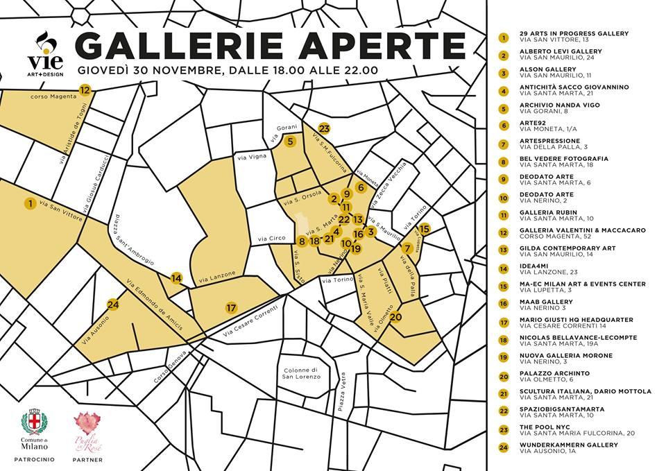 La mappa delle gallerie aderenti all'happening delle 5Vie di Milano.