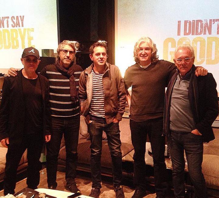 Le leggende. Da sinistra Alan Clark, Marco Cavaglia, Christian D'Antonio di The Way Magazine, Phil Palmer e Trevor Horn.