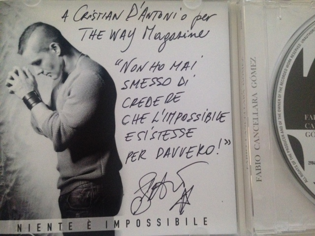 La dedica sul cd per The Way Magazine da parte di Fabio Cancellara Gòmez.