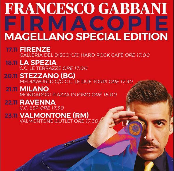 L'elenco con location e data dei firmacopie di Magellano Special Edition.