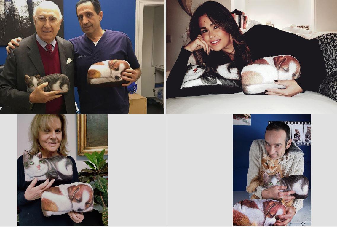Dall'altro, Le Mascottine con i vip: Pippo Baudo, Samantha De Grenet, la presidente dell'Enpa e il fotografo dei gatti, .