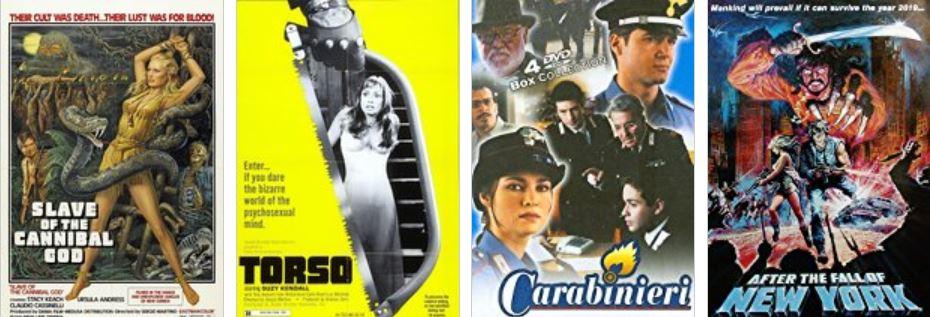 Alcuni titoli della filmografia di Sergio Martino (Roma, 1938) tradotti per il pubblico estero.