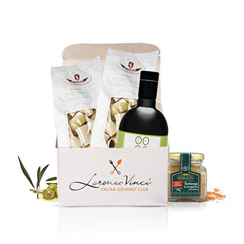 Box di prodotti tipici di Lorenzo Vinci, Italian Gourmet Club – pasta, bottarga, olio evo