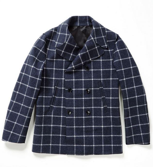 Drumohr_ Pea-coat fantasia Checked 100% lana, tessuto in membrana impermeabile
