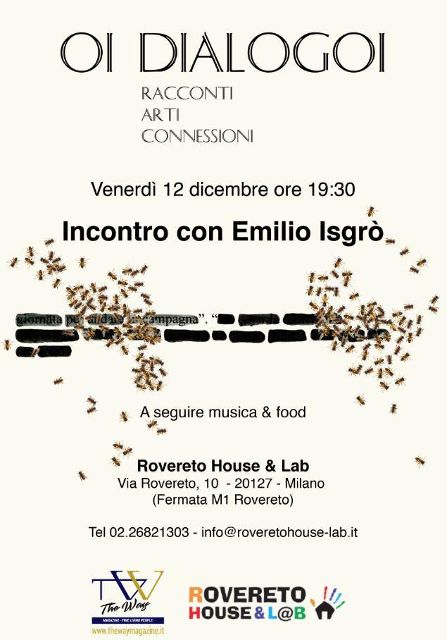 Locandina di Oi Dialogoi con Emilio Isgrò alla Rovereto House & Lab di Milano per il 12 gennaio 2018.