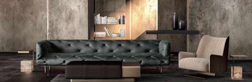 La Glamour Collection di Formitalia. progettato da Dainelli Studio per Formitalia, che debutterà alla prossima edizione del Salone del Mobile. Metalli satinati, pietre naturali, pellami e tessuti ricercati