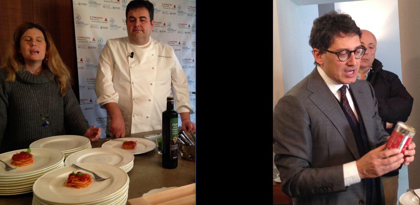 Da sinistra: per Fondazione Umberto Veronesi, lo chef Gennaro Esposito e Giovanni De Angelis direttore generale di Anicav.
