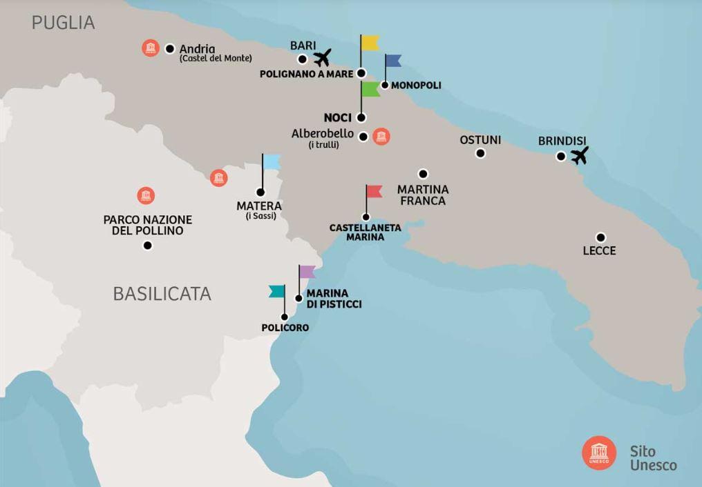 Mappa Puglia E Basilicata.Greenblu In Puglia E Basilicata Per La Vacanza Emozionale